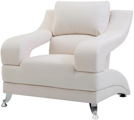 Glory Furniture G247C Faux Leather Armchair with Metal Frame in White