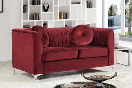 "Meridian Isabelle Collection 612X-L 62"" Loveseat with Velvet Upholstery, Chrome Legs, Piped Stitching and Contemporary Style in"