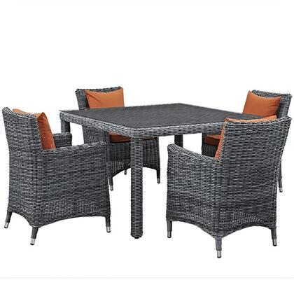 Modway Summon Collection 5 PC Outdoor Patio Dining Set with Sunbrella  Fabric, Synthetic Rattan Weave, Powder Coated Aluminum Frame, Water & UV Resistant in