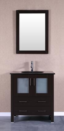Bosconi Bosconi AB130BGUX Single Vanity with Soft Closing Doors , Drawers,Tempered Glass Top, Faucet, Mirror in Espresso and Black Integrated Tempered Glass Sink