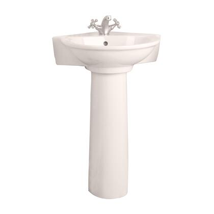 """Barclay 3-221 Evolution Corner Pedestal Lavatory, with One Predrilled Faucet Hole, 6.5"""" Basin Depth, and Vitreous China Construction, in Bisque"""