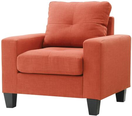 Glory Furniture G473AC Newbury Series Faux Leather Armchair in Orange