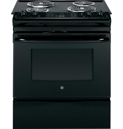"""GE JS250 30"""" Slide-In Electric Range with 4.4 cu. ft. Capacity, 4 Coil Elements, Self-Clean, Electronic Temperature Display, Dual Element Bake, Chrome Drip Bowls, and Removable Storage Drawer in"""