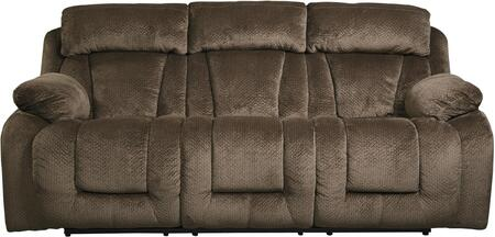 """Signature Design by Ashley 86507 Stricklin 88"""" Reclining Power Sofa with Piped Stitching, Metal Frame and Fabric Upholstery in Color"""