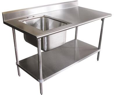 "Advance Tabco KMS-11B-306 72"" Wide Work Table with Deck Mounted Faucet, 5"" Splash and Sink in Stainless Steel"