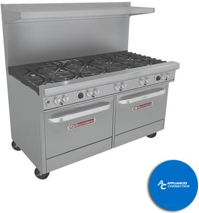 "Southbend 4601CC5 Ultimate Range Series 60"" Gas Range with Seven Standard Non-Clog Burners and Two Rear Pyromax Burners, Up to 311000 BTUs (NG)/248000 BTUs (LP), Dual Cabinet Base"