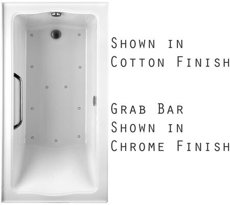 Toto ABR782L12YPNX Clayton Series Drop-In Airbath Tub with Acryclic Construction, Slip-Resistant Surface, and Polished Chrome Grab Bar, Sedona Beige Finish