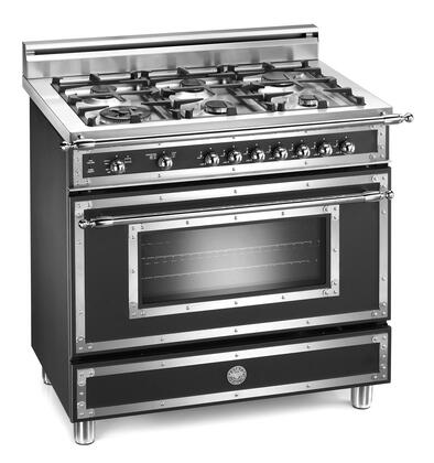 Bertazzoni H366GGVNE Heritage Series Gas Freestanding Range with Sealed Burner Cooktop, 3.6 cu. ft. Primary Oven Capacity, Storage in Black
