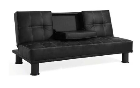 Lifestyle Solutions CCDOMS3F3BK Casual Convertibles Series Convertible Leather Sofa