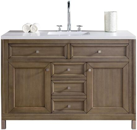 "James Martin Chicago Collection 305-V48-WWW- 48"" White Washed Walnut Single Vanity with Four Soft Close Drawers, Two Soft Close Doors, Satin Nickel Hardware and"