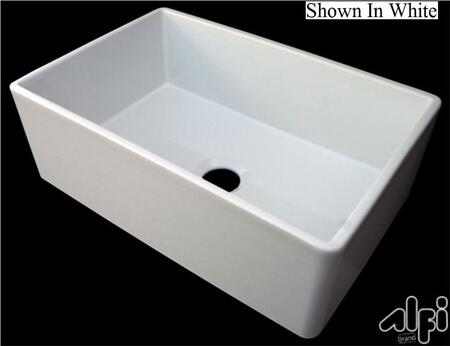 """Alfi AB510 30"""" Contemporary Smooth Apron Farmhouse Kitchen Sink with Fireclay and 3 1/2"""" Rear Center Drain in"""
