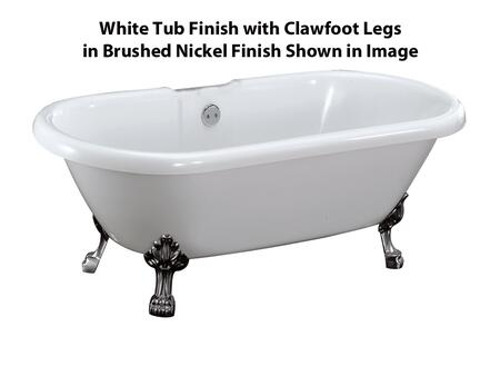 "Barclay ADR69LP Clayton 69"" Acrylic Double Roll Top Clawfoot Tub, White Tub Finish, No Overflow, Lion Paw Clawfoot Design, , with Clawfoot Finish in"
