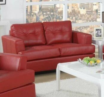 Yuan Tai 1083LRED Caleb Series Leather Love Seat with Wood Frame Loveseat