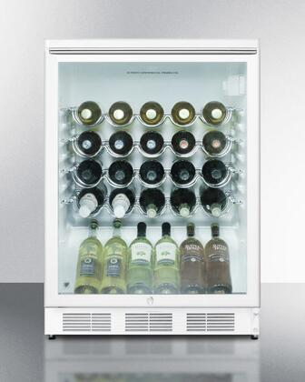 Summit SWC6GWLBIX Commercially Approved Freestanding Glass Door Wine Cellar with 5.5 Cu. Ft. Capacity, 4 Wine Shelves, Automatic Defrost and Factory Installed Lock: