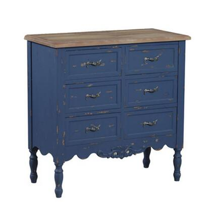 "Powell Piper Collection 14A2056 31"" Hall Chest with Six Drawers, Turned Legs and Natural Birch Wood Top in"