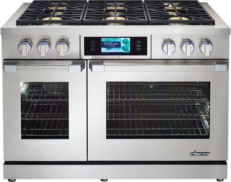 "Dacor DYRP48DSNGH 48"" Discovery Series Slide-in Gas Range with Sealed Burner Cooktop, 5.2 cu. ft. Primary Oven Capacity, in Stainless Steel"