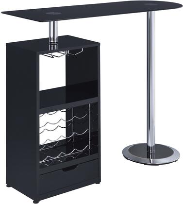 """Coaster Bar Units and Bar Tables 47.25"""" Bar Table with 12 Bottle Wine Rack, Drawer, Tempered Frosted Glass Top, Stemware Rack and Chrome Base in"""