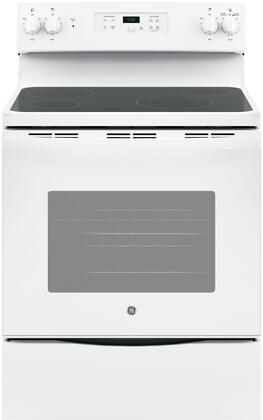 "GE JBS60 30"" Star K Freestanding Electric Range with 4 Radiant Elements, 5.3 cu. ft. Oven Capacity, Black Ceramic Glass Cooktop, Storage Drawer and Dual Bake Element:"