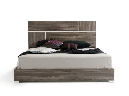 VIG Furniture Modrest Picasso Collection VGACPICASSO-BED-GRY X Size Italian Modern Bed with Lacquer Finish, Silver Accents and Metal Feet in Elm Grey