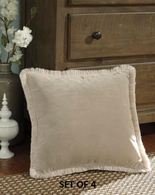 """Signature Design by Ashley D'Artagnan A100036X Set of Four 20"""" x 20"""" Pillows with Fringes, Polyester Cover and Zipper Closure in"""