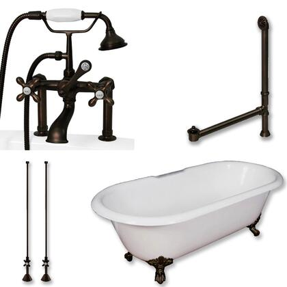 "Cambridge DE60463D6PKGXX7DH Cast Iron Double Ended Clawfoot Tub 60"" x 30"" with 7"" Deck Mount Faucet Drillings and British Telephone Style Faucet Complete Plumbing Package with Six Deck Mount Risers"