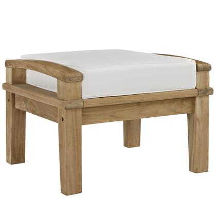 """Modway Marina EEI1152NAT 23.5"""" Outdoor Patio Teak Ottoman with grade A Premium Teach Wood Construction, UV and Water Resistant in Natural Fine Sand Finish and Cushion Color"""