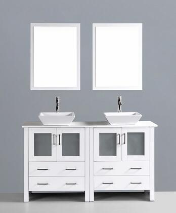 """Bosconi AW230SXX 60"""" Double Vanity in White with X Drawers, 4 Doors, Phoenix Stone Tops, 2 Rectangular Countertop Sinks and 2 Mirrors."""