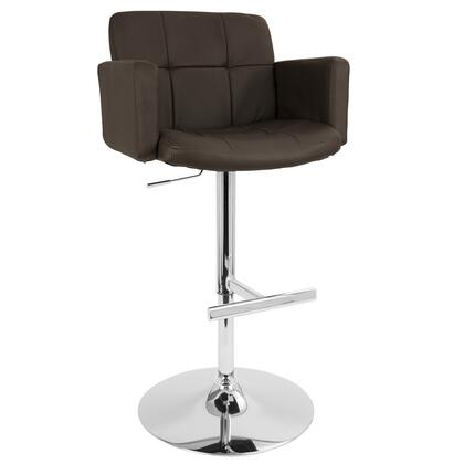 LumiSource BSTWSTOUTBN Stout Series Residential Bycast Leather Upholstered Bar Stool