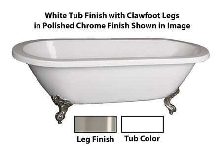 "Barclay ATDR66I Chantal 66"" Acrylic Double Roll Top Clawfoot Tub, with White Tub Finish, No Overflow, Imperial Clawfoot Design, , with Clawfoot Finish in"