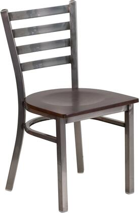 Flash Furniture XU-DG694BLAD-CLR-XXXX-GG HERCULES Series Clear Coated Ladder Back Metal Restaurant Chair - Wood Seat