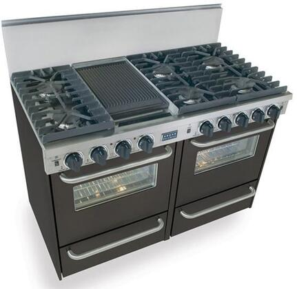 "FiveStar TPN5317 48"" Freestanding Liquid Propane Range With 6 Sealed Ultra High-Low Burners, 2.92 Cu. Ft., Convection Ovens, Broiler Drawer, Double Sided Grill/Griddle, In"