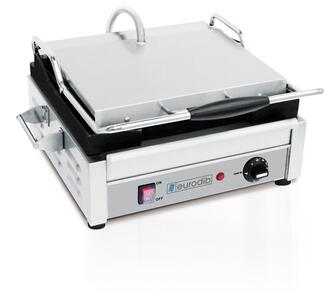 Eurodib SFE0 Panini Grill With Heavy duty machine, Adjustable Thermostat, Adjustable Hinge Mechanism, Spring Cover and 2 heating Elements.