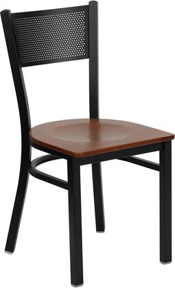 "Flash Furniture HERCULES Series XU-DG-60115-GRD-XXW-GG 18"" Heavy Duty Grid Back Metal Restaurant Chair with Wood Seat, Commercial Design, 18 Gauge Steel Frame, and Plastic Floor Glides"
