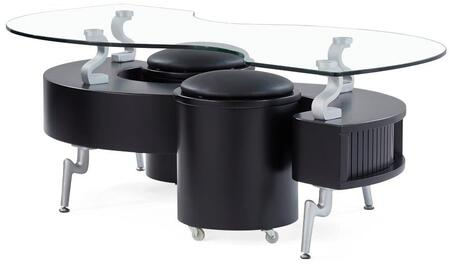 """Global Furniture USA T288XC 51"""" S-Shaped Coffee Table with Elevated Clear Glass Top, Sleek Metal Legs and 2 Stools with Casters and Cushioned Seating Included in"""
