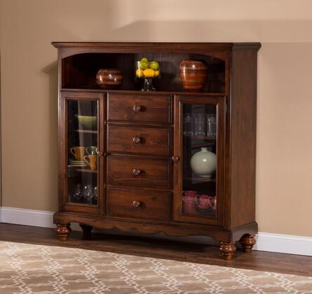 """Hillsdale Furniture 854BC Pine Island 67.5"""" Baker's Cabinet with 4 Drawers, 2 Glass Door Cabinets, Open Shelf, Pine Solids and Lumber Sides Construction in"""