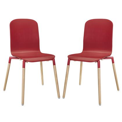 Modway EEI-1372 Stack Wood Dining Chairs Set of 2 with Modern Design, Steel Tube Frame, Solid Beech Wood Legs and Foot Caps