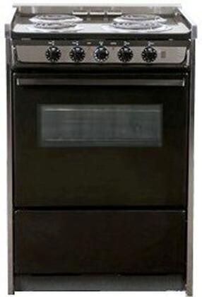 "Summit TEM619RW 24"" Professional Series Slide-in Electric Range with Coil Element Cooktop, 2.92 cu. ft. Primary Oven Capacity, Storage in Black"