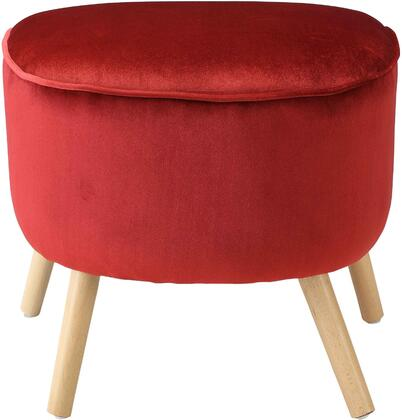 "Acme Furniture Aisling Collection 22"" Ottoman with Half-Moon Shape, Natural Tapered Legs, Rubberwood Construction and Velvet Upholstery in"