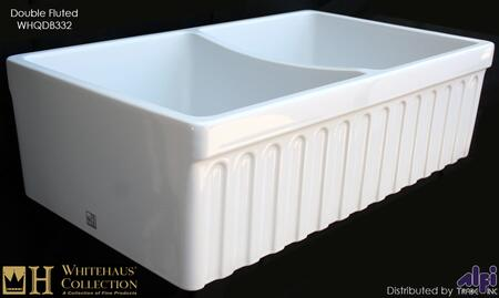 """Whitehaus WHQDB332 33"""" Quatro Alcove Reversible Double Bowl Fireclay Kitchen Sink with a Fluted Front Apron in"""