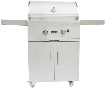 "Coyote C-Series CCX2 28"" Grill on Cart with Two x 11 Gauge Stainless Cast iBurners, 40,000 BTUs, 640 sq. in Grilling Surface, Interior Grill Light, Warming Rack, and Double Walled Stainless Hood in Stainless"