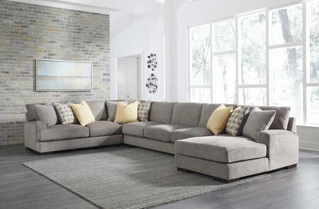 Benchcraft Fallsworth Collection 948024PCSS 4-Piece Sectional Sofa with X Arm Facing Loveseat, Wedge, Armless Sofa and X Arm Facing Chaise in Smoke Color