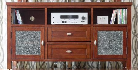 """Jofran Chadwick Espresso Collection 862-XX XX"""" Media Unit with Crackled Glass in Cabinet Doors, Two Shelves, Two Doors in Chadwick Expresso"""