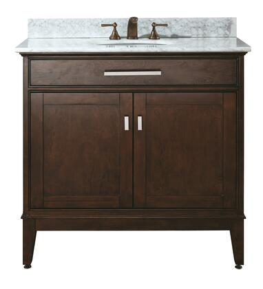 "Avanity MADISON-VSXX-LE-C Madison X"" Vanity with Carrera White Marble Top, Brushed Nickel Hardware and Undermount Sink(s) in Light Espresso"