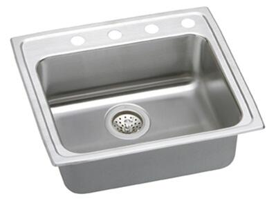 "Elkay LRAD252155 Gourmet Lustertone Stainless Steel 25"" x 21-1/4"" Single Basin Top Mount Kitchen Sink:"