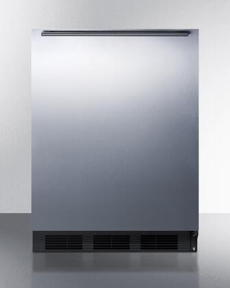 """Summit FF6BBI7SSHHX 24"""" Commercially Approved & ADA Compliant Compact Refrigerator with 5.5 cu. ft. Capacity, Glass Shelves, Reversible Door and Auto Defrost, in Stainless Steel"""
