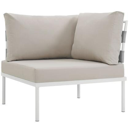 "Modway Harmony Collection EEI-2601-WHI- 33"" Outdoor Patio Corner Sofa with White Aluminum Frame, Dense Foam Padding and All-Weather Canvas Fabric Cushions in"
