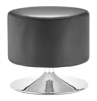 "Zuo 10302X Plump Collection 17"" Ottoman Chrome Base, and Leatherette Upholstery"