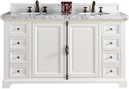 """James Martin Providence Collection 238-105-V60D-CWH- 60"""" Cottage White Double Vanity with Plantation Style Hardware, Two Soft Close Doors, Four Soft Close Drawers and"""