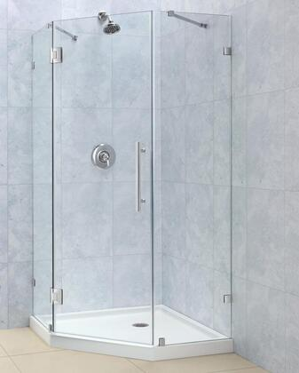 "DreamLine SHEN-22 PrismLux Frameless Hinged Shower Enclosure, Clear 3/8"" Glass Shower"
