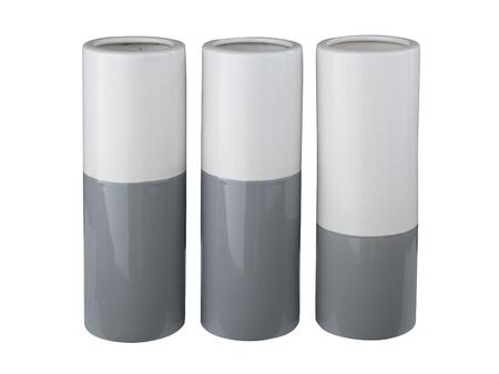 Signature Design by Ashley Dalal A200016V Set of 3 Vases with Glazed Ceramic Body in X and White